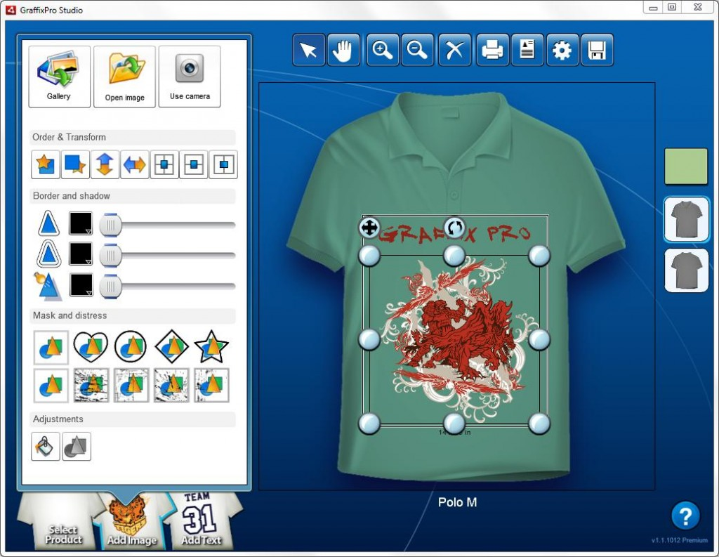 Graffixpro studio software stitch print for Custom t shirt software